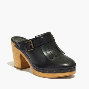 Madewell Black Leather Fringe Classic Wooden Clogs